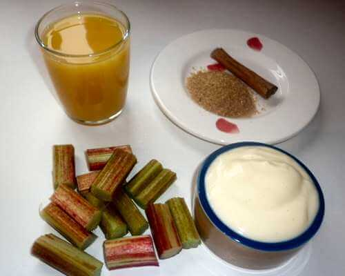 Ingredients for a rhubarb and orange smoothie